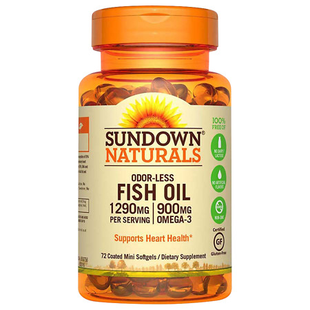 Sundown Naturals Odorless Omega-3 Fish Oil 1,290 mg Dietary Supplement Mini Softgels - 60 ea.