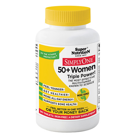 Super Nutrition Simply One 50+ Women Triple Power Multivitamins, Iron Free Vegetarian Tablets - 90 ea
