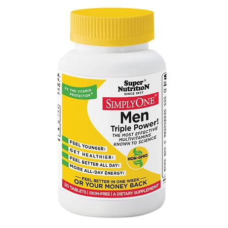 Super Nutrition Simply One Men Triple Power, Tablets - 30 ea