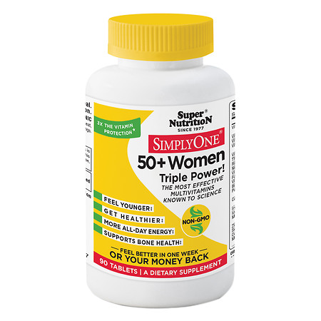 Super Nutrition SimplyOne 50+ Women Multivitamin-Mineral Dietary Supplement Tablets - 90 ea