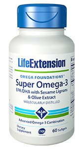 Super Omega-3 EPA/DHA with Sesame Lignans & Olive Extract, 60 softgels