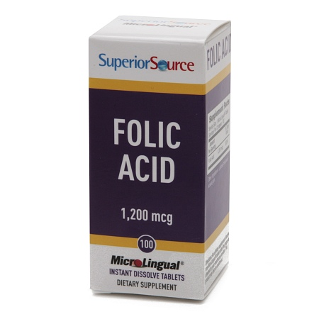 Superior Source Folic Acid 1200mcg Extra Strength, Dissolve Tablets - 100 ea