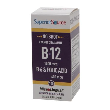 Superior Source No Shot B6B12Folic Acid, Dissolve Tablets - 100 ea