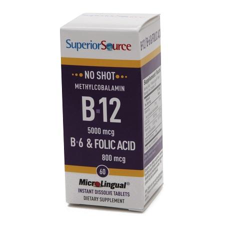 Superior Source No Shot Methyl B12 5000 mcgB6Folic Acid 800mcg, Dissolve Tablets - 60 ea
