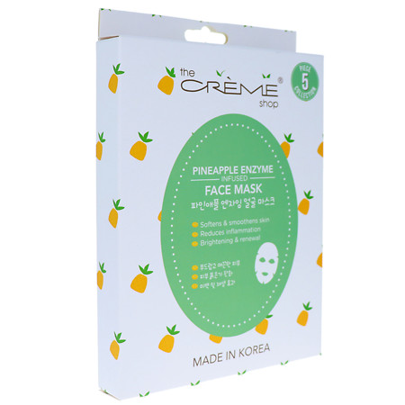 The Creme Shop Pineapple Enzyme Infused Sheet Face Mask 5pc Collection - 6.25 oz.