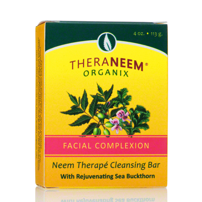 TheraNeem Facial Complexion Neem Cleansing Bar with Sea Buckthorn, 4 oz