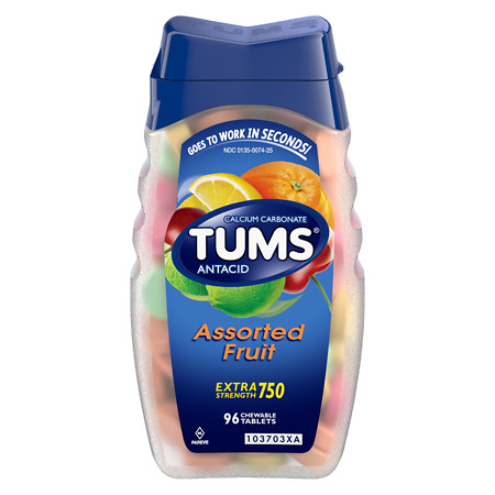 Tums Extra Strength 750 AntacidCalcium Supplement Chewable Tablets Assorted Fruit - 96 ea