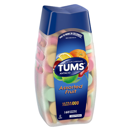 Tums Ultra 1000 Strength Maximum Strength AntacidCalcium Supplement Fruit, Assorted Fruit - 160 ea
