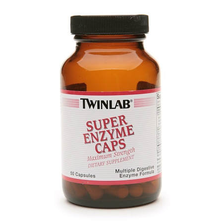 Twinlab Super Enzyme Caps Dietary Supplement Capsules - 50 ea
