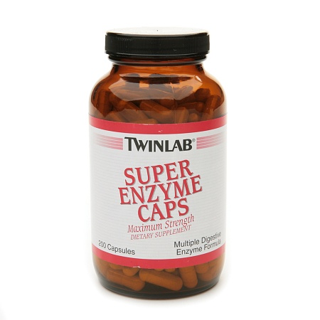 Twinlab Super Enzyme Caps Maximum Strength Dietary Supplement Capsules - 200 ea
