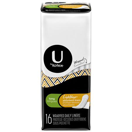 U by Kotex Absorbent Pantiliners, Individually Wrapped Unscented, Long - 16 ea