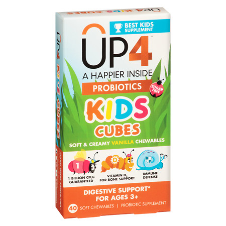 UP4 Kids Cubes Probiotics Supplement Chewables Vanilla - 40 ea