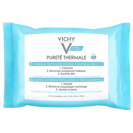 Vichy Laboratoires Purete Thermale 3-in-1 Makeup Remover Wipes with Micellar Cleanser Water - 25 ea