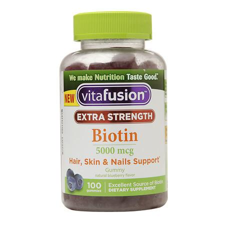 Vitafusion Extra Strength Biotin 5000 mcg Blueberry - 100 ea