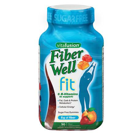 Vitafusion Fiber Well Fit Gummies, Weight Management Peach, Strawberry & Berry - 90 ea
