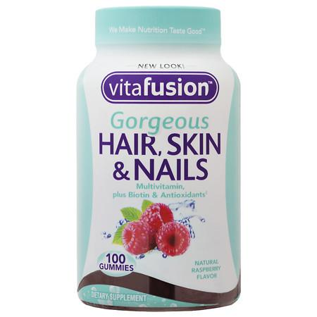 Vitafusion Gorgeous Hair, Skin & Nails Multivitamin, Gummies Natural Raspberry Flavor - 100 ea