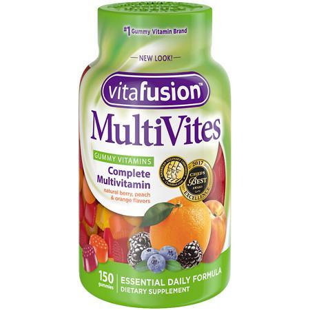 Vitafusion MultiVites, Adult Vitamins, Gummies Natural Berry, Peach & Orange - 150 ea