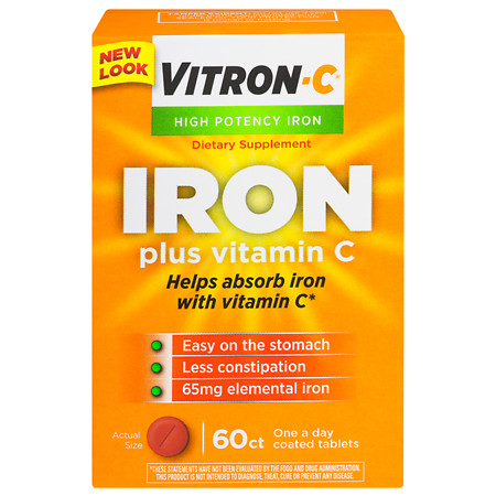 Vitron-C Iron Supplement Plus Vitamin C, Coated Tablets - 60 ea