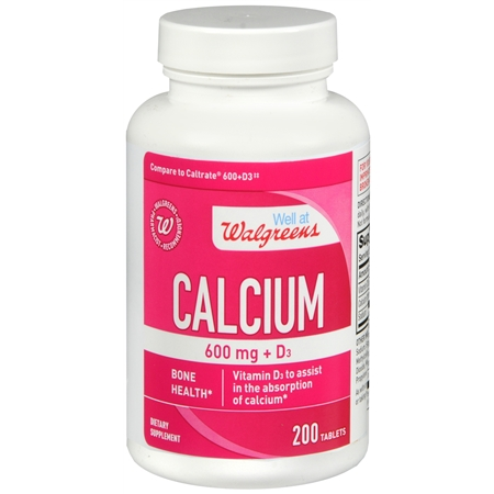 Walgreens Calcium 600 mg + D3, Tablets - 200 ea