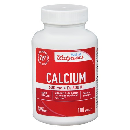 Walgreens Calcium 600mg + D3 800 IU, Tablets - 100 ea