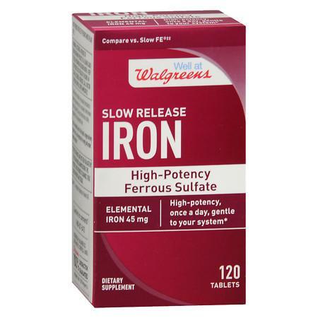 Walgreens Iron Slow Release High Potency Ferrous Sulfate 45mg, Tablets - 120 ea