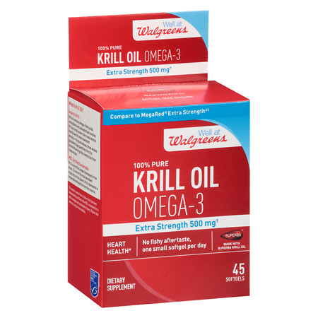 Walgreens Krill Oil Omega-3 Extra Strength 500mg, Softgels - 45 ea