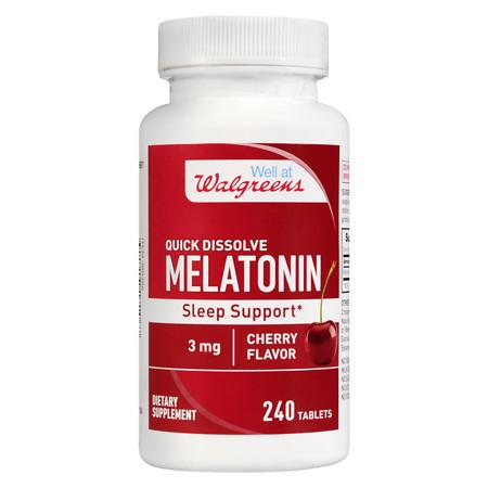 Walgreens Melatonin Sleep Support 3mg, Quick Dissolve Tablets Cherry - 240 ea