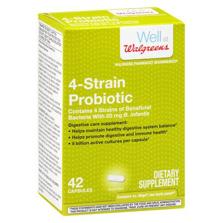 Walgreens Natural 4 Strain Probiotic Capsules - 42 ea