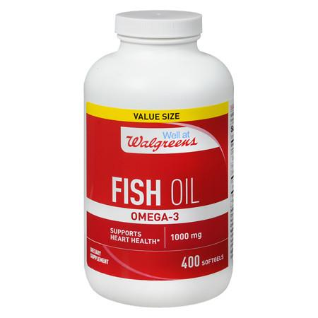 Walgreens Omega -3 Fish Oil 1000mg, Softgels - 400 ea