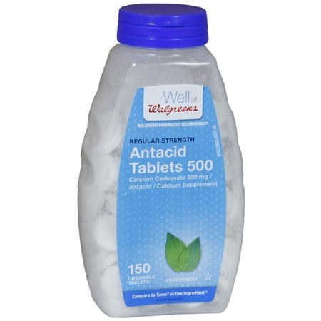 Walgreens Regular Strength AntacidCalcium Supplement Chewable Tablets Peppermint - 150 ea