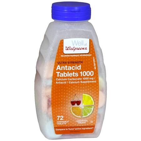 Walgreens Ultra Strength AntacidCalcium Supplement Chewable Tablets Assorted Fruit - 72 ea