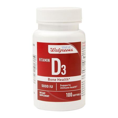 Walgreens Vitamin D3 5000 IU, Softgels - 100 ea