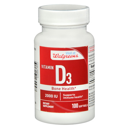 Walgreens Vitamin D3 Bone Health 2000 IU, Softgels - 100 ea