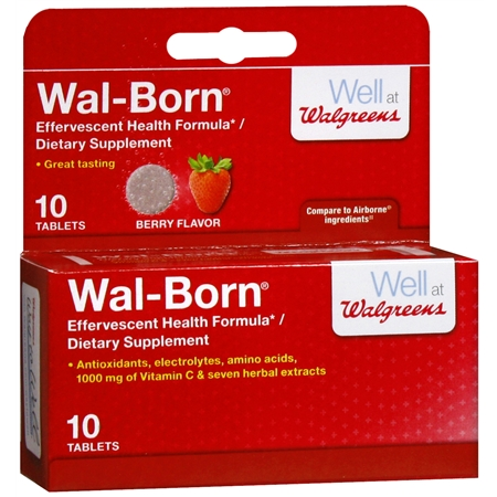 Walgreens Wal-Born Effervescent Health Formula Dietary Supplement Tablets Berry - 10 ea.