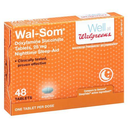 Walgreens Wal-Som Nighttime Sleep Aid Tablets - 48 ea