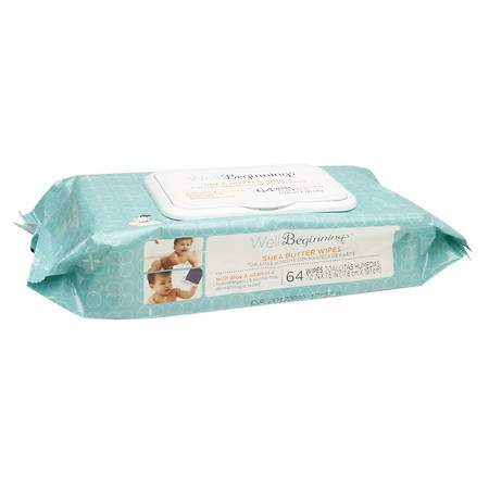 Well Beginnings Baby Wipes Shea Butter - 64 ea