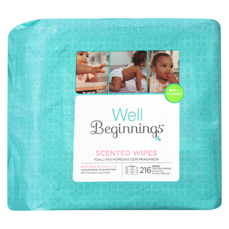 Well Beginnings Scented Baby Wipes Refill Lightly Scented - 216 ea