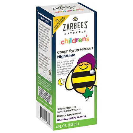 ZarBee's Naturals Children's Cough Syrup + Mucus Reducer, Nighttime Grape - 4 fl oz