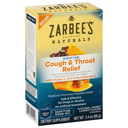 ZarBee's Naturals Cough & Throat Relief Nighttime Drink Packets Honey Lemon - 6 ea
