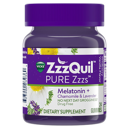 ZzzQuil PURE Zzzs Dietary Supplement Gummies Wildberry Vanilla - 24 ea
