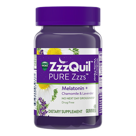 ZzzQuil PURE Zzzs Dietary Supplement Gummies Wildberry Vanilla - 48 ea