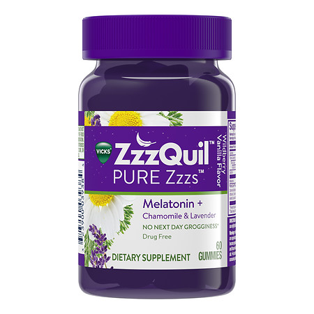 ZzzQuil PURE Zzzs Dietary Supplement Gummies Wildberry Vanilla - 60 ea