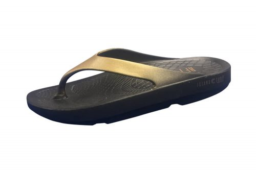 Island Surf Company Wave Sandals - Women's - black/gold, 7