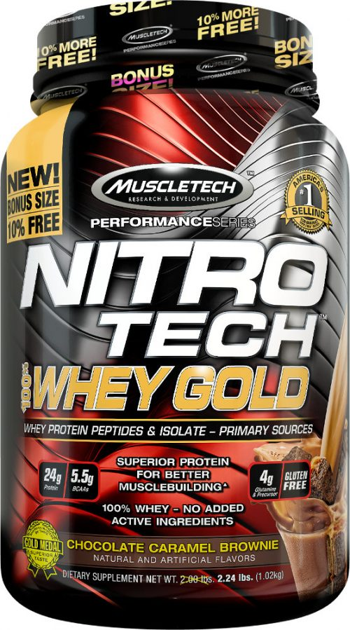 MuscleTech Nitro-Tech 100% Whey Gold - 2.2lbs Chocolate Caramel Browni
