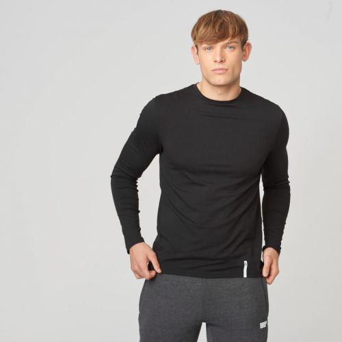 Myprotein Luxe Classic Long-Sleeve Crew T-Shirt - Black - M