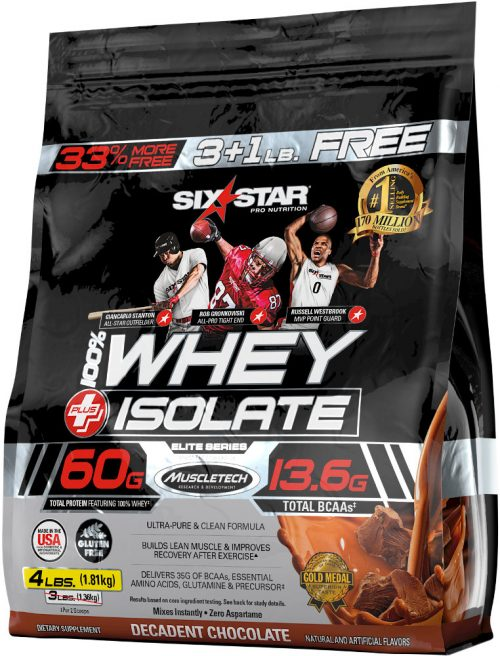 Six Star Muscle 100% Whey Plus Isolate - 4lbs Decadent Chocolate