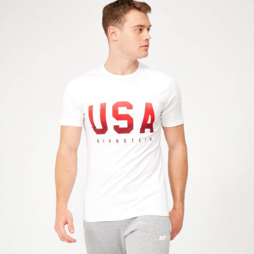USA Geometric T-Shirt - White - L