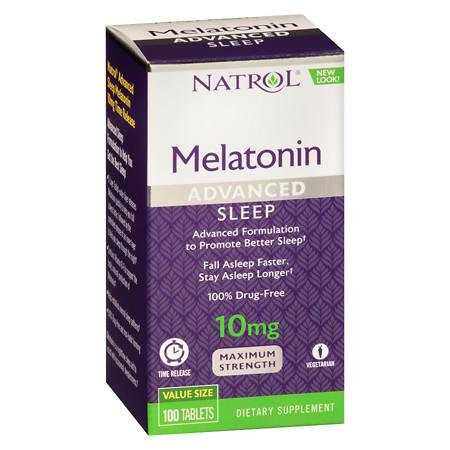 Natrol Advanced Sleep Melatonin 10 mg Tablets Time Released - 100 ea