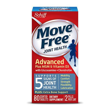 Schiff Move Free Joint Health Glucosamine Chondroitin Plus MSM & Vitamin D3, Tablets - 80 ea