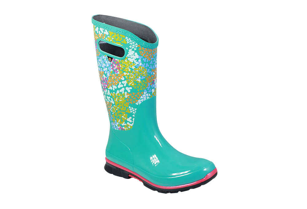 BOGS Berkley Footprint Rain Boots - Women's - turquoise multi, 9